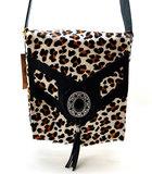 Koeienhuid Dames tas Lina leather/Van Fiel met luipaard print _