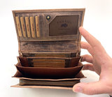 Lederen portemonnee RFID Van Fiel bruin_