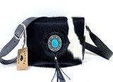 Koeienhuid dames tas zwart/wit met zwarte croco print Van Fiel_