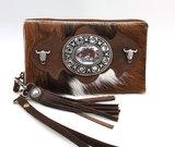 Koeienhuid dames portemonnee groot met Metal YKK rits _