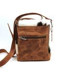 Koeienhuid schoudertasje bruin/ 3 kleurig Van Fiel_