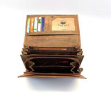 koeienhuid dames portemonnee bruin silver met RFID_