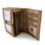 koeienhuid dames portemonnee bruin-wit met RFID_