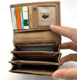 koeienhuid dames portemonnee zilver bruin met RFID_