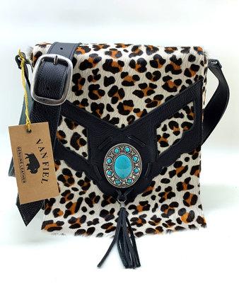 Koeienhuid Dames tas Lina leather/Van Fiel met luipaard print