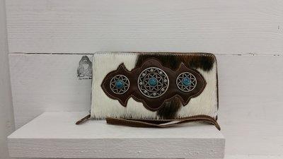 koeienhuid dames portemonnee bruin