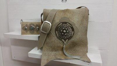 Koeienhuid dames tas met portemonnee