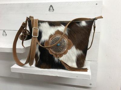 koeienhuid damestas met twee hengels