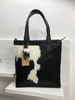 Koeienhuid Shopper tas zwart/wit
