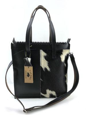 Koeienhuid Shopper tas zwart/wit met lange hengsel