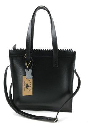 Lederen Shopper tas zwart  met lange hengsel