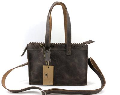 Lederen bruin mini shopper met lange hengsel