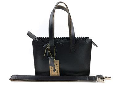 Lederen zwart mini shopper met lange hengsel