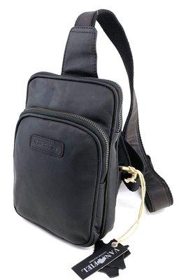Crossover lederen tas met RFID -Van Fiel- zwart