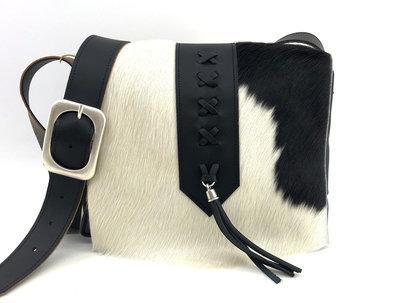 damestas koeienhuid zwart/wit