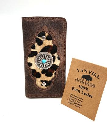 Koeienhuid telefoonhoesje in boekvorm  bruin