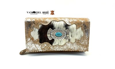 koeienhuid dames portemonnee bruin-wit-silver met RFID