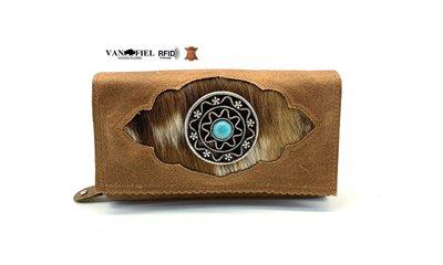 koeienhuid dames portemonnee bruin-wit met RFID