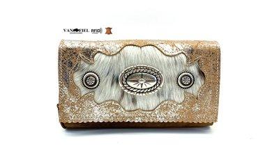 koeienhuid dames portemonnee bruin silver met RFID