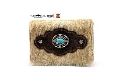 koeienhuid dames portemonnee zandkleur met RFID