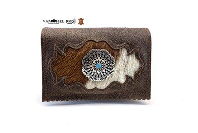 koeienhuid dames portemonnee bruin met RFID