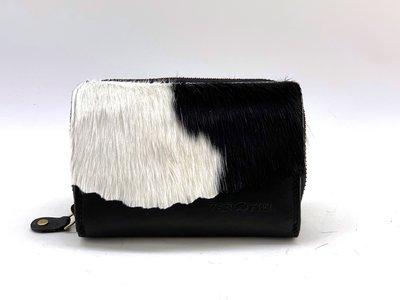 Koeienhuid portemonnee zwart-wit print met RIFD