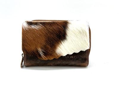 Koeienhuid portemonnee bruin-wit met RIFD