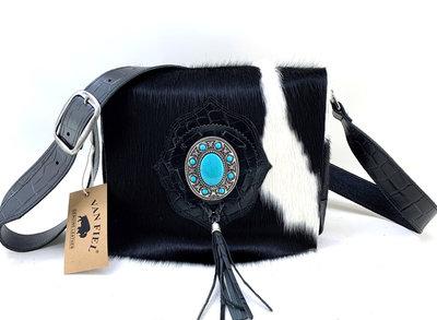 Koeienhuid dames tas zwart/wit met zwarte croco print Van Fiel