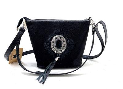 Koeienhuid damestas met croco leer zwart