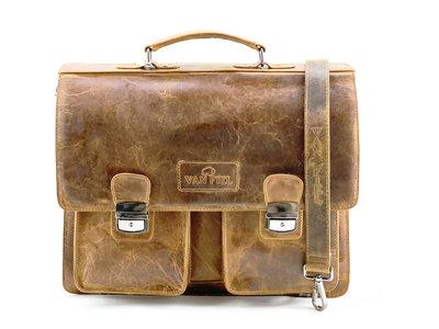 Lederen laptop en akte tas geschikt tm 17 inch cognac Van Fiel