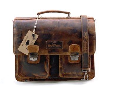 Lederen laptop en akte tas geschikt tm 16.5 inch bruin Van Fiel