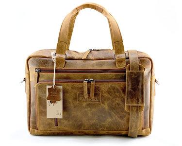 Lederen laptop tas geschikt tm 17 inch cognac Van Fiel D103