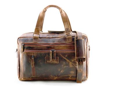 Lederen laptop tas geschikt tm 17 inch bruin Van Fiel D103