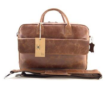Lederen Van Fiel laptoptas 16 inch cognac