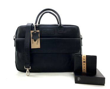Lederen Van Fiel laptoptas tm 17 inch met bijpassende portemonnee