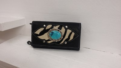 Koeienhuid dames portemonnee bruin zibra print