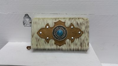 Koeienhuid dames portemonnee bruin-wit