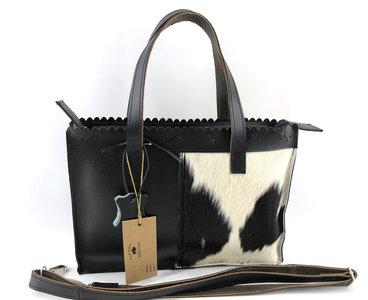 Koeienhuid  zwart/wit medium shopper met lange hengsel