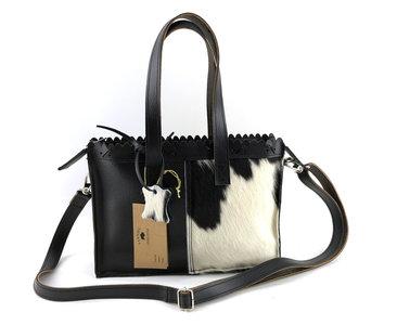 Koeienhuid zwart/wit mini shopper met lange hengsel