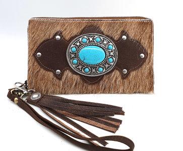 Koeienhuid dames portemonnee groot met Metal YKK rits