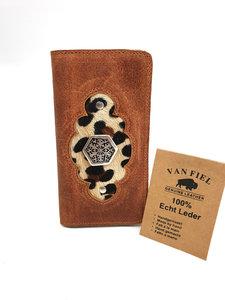 Koeienhuid telefoonhoesje in boekvorm cognac