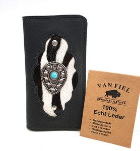 Koeienhuid telefoonhoesje in boekvorm  zwart