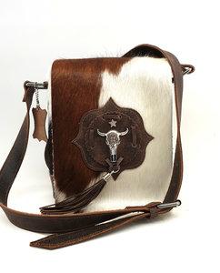 Koeienhuid schoudertasje bruin Van Fiel