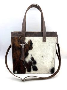 Koeienhuid Shopper tas bruin/wit met lange hengsel