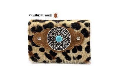 Koeienhuid Luipaard print dames portemonnee met RFID