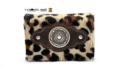 Luipaard print koeienhuid dames portemonnee bruin-wit met RFID