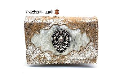 koeienhuid dames portemonnee zilver bruin met RFID